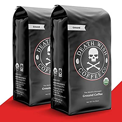 DEATH WISH COFFEE Dark Roast Coffee Grounds [16 oz.] The World's Strongest Coffee, USDA Certified Organic, Fair Trade, Arabica, Robusta (2-Pack)