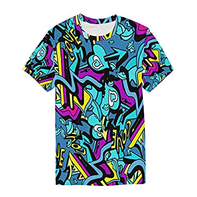 WIHVE Short Sleeve T-Shirt Abstract Graffiti Hip Hop Street Art Heart Love O-Neck Tops for Men
