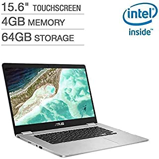 "2019 Newest Asus Chromebook 15.6"" Full HD Touchscreen 1080p, Intel N4200 Quad-Core Processor 2.5GHz, 4GB RAM, 64GB Storage, Brushed Aluminum Chassis"