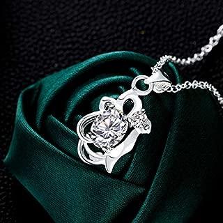 Home European Style Elegant Pendants Stylish Noble Green Plated Diamond Necklace (Color : White) Girls Necklace (Color : White)