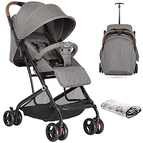 Hello-5ive Baby Stroller, Lightweight Foldable Pushchair with Rain Cover, Five-Point Harness, Adjustable Seat, Travel Buggy Pram from Birth 0-3 Years for Airplane (Iron Grey)