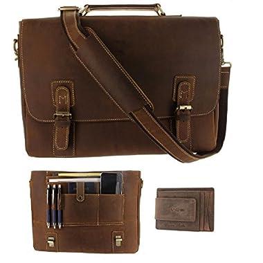Viosi Mens RFID Leather Messenger Bag / 16 Inch Laptop Briefcase Shoulder Satchel Bag / RFID Money Clip Included