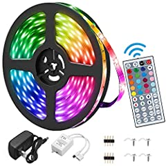 🌈【Waterproof and Colorful 】LED strip lighting has 150 RGB 5050 SMD Leds in 16.4ft with dimmer and brightness controls, and with 44 key IR remote controller. It has not only RGB,16 multicolored options, but also has DIY selection to create amazing lig...