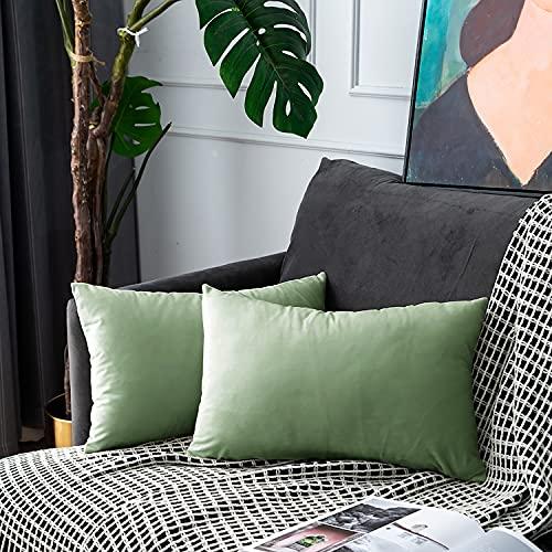 UPOPO Juego de 2 fundas de cojín de terciopelo, decorativas, de un solo color, suave, para sofá, dormitorio, salón, con cremallera, 30 x 50 cm, color verde claro