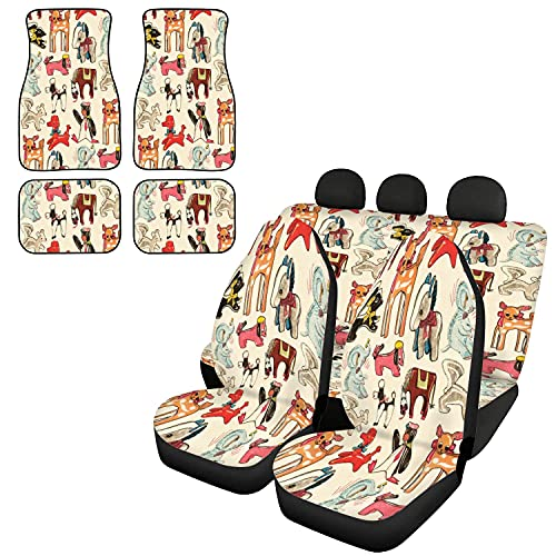 Blowup Animals Pattern Car Seat Covers Full Set Car Floor Mats, Car Seat Protector Floor Mats for Cars Auto Decor Full Set, Universal Fit Most Vehicles