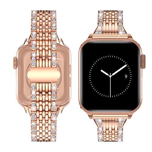 TOWOND Correa del Reloj Compatible con Apple Watch,Pulsera de Reloj de Reemplazo de Acero Inoxidablepara Series 6/SE/5/4/3/2/1,Apple Watch Correa 42mm 44mm para Hombre &Mujer Dorado, 38/40mm
