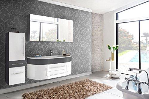 SAM Diseño montags baño 2Piezas. Dublin–Set de Muebles de baño 120cm Color Blanco, función de Cierre Suave, 1Espacio de Lavado con cerámica Platillos y 1Armario con Espejo