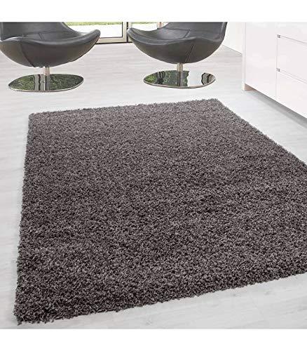 Hochflor Langflor Wohnzimmer Hochwertiger Shaggy Teppich Unifarbe Florhöhe 5cm - Taupe, 80x150 cm