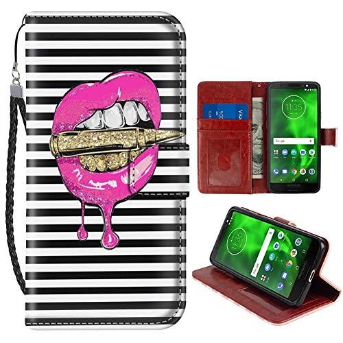 Motorola Moto G6 Plus (2018) 15,1 cm (6,9 Zoll) Wallet Case Pink Lippen in Bullet Flap