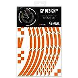 VFLUO GP Design™, Kit Strisce Adesivi rifrangenti/Riflettenti per Cerchioni Moto (1 Ruota), 3M Technology™, Larghezza : 10 mm, Arancione