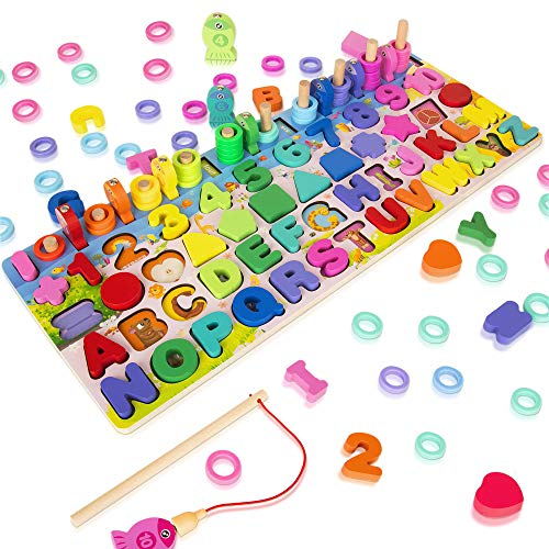 Wooden Magnetic Puzzles for Toddlers, 5-in-1 Color Alphabet Shape Number Sorting Fishing Game Toys, Educational Math Stacking Block Learning Jigsaw Board, Gift for 3-6 Year Old Boys and Girls