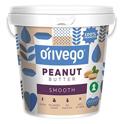 ORIVEGO Erdnussbutter Smooth, 1kg – 100% Erdnüsse, Vegan, Ohne Zucker, Peanut Butter ohne Zusatzstoffe