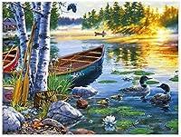 数字油絵 フレーム付き、数字キット塗り絵 手塗り DIY-大人の初心者の子供-夕日の野生のカモ-40x50 cm