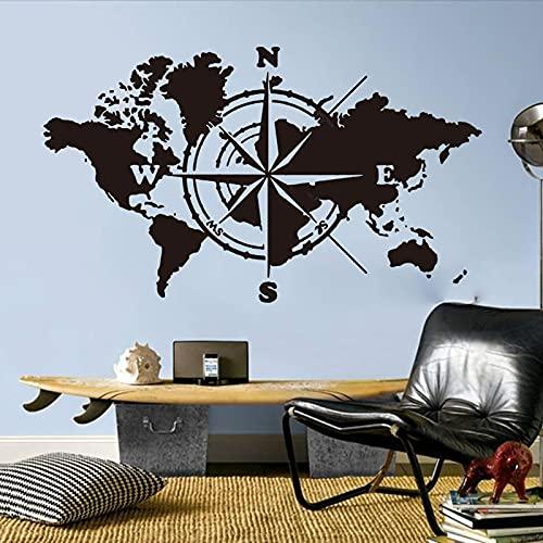PMSMT Gran brújula Mapa del Mundo Pegatina de Pared de Viaje Aula Oficina Atlas Mundial Aventura calcomanía de Pared Dormitorio decoración de Vinilo