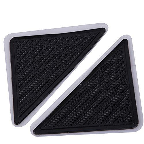 IENPAJNEPQN Wiederverwendbare Waschbar Teppich Teppich Mat Greifer Non Slip Silikon Grip for Privatanwender Bad Wohnzimmer Teppich-Nicht Beleg-Tri 4pcs / Set (Color : Black)