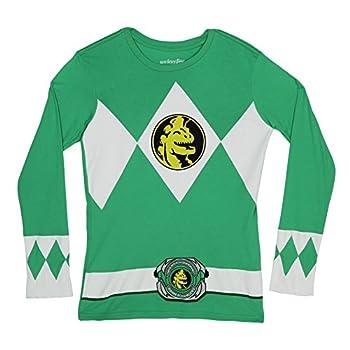 Power Rangers The Long Sleeve Ranger Costume Green T-Shirt  Adult Small
