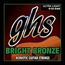 GHS Strings BB10U Bright Bronze, 80/20 Copper-Zinc Alloy, Acoustic Guitar Strings, Ultra Light (.010-.046)