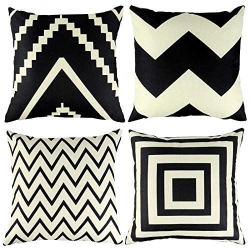 FengRise Throw Pillow Case Cushion Covers – 4Pcs Geometric Pattern Black Cotton Linen Throw Pillow Covers Set Square Decorative Pillowcase for Sofa Car Couch Bedroom Home Décor Indoor Outdoor