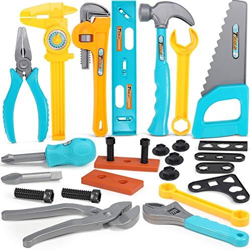 GeyiieTOYS Kinder Werkzeug Kinderwerkzeug Spielwerkzeug Spielzeug Werkzeug Set Werkzeugzubehör Geschenk für Kleinkinder Kinder Jungen 3 4 5 6 7 8 9 26Stk.