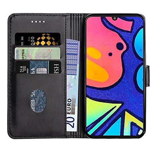 Baiyian Ledertasche Brieftasche Schutzhülle Flip Hülle für Samsung Galaxy M21s / M31 Prime, Schwarz