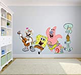 Spongebob Squarepants Complete Cast Happy Wall Graphic Decal Sticker Sticker Mural Baby Kids Room Bedroom Nursery Kindergarten House Home Design Wall Art Decor Removable Peel and Stick 20x12 inch