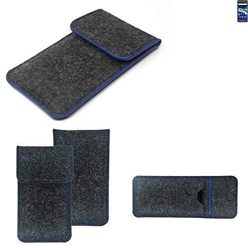 K-S-Trade Handy Schutz Hülle Für General Mobile GM 6 Schutzhülle Handyhülle Filztasche Pouch Tasche Hülle Sleeve Filzhülle Dunkelgrau, Blauer Rand