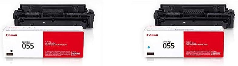 Canon Genuine Toner, Cartridge 055 Black (3016C001) 1 Pack & Canon Genuine Toner, Cartridge 055 Cyan (3015C001) 1 Pack