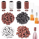 162 Pieces Sanding Bands for Nail Drill Portable Nail Strap Set 3 Color Coarse Fine Grit Efile Sand Set 80#120#180#240#,2 Pieces 3/32 Inch Nail Drill Bits for Manicures and Pedicures