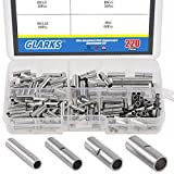 Glarks 220Pcs Non-Insulated Butt Connectors Assortment Kit, 22-16/16-14/14-12/12-10 AWG Gauge Seamless Uninsulated Electrical Wire Ferrule Cable Crimp Terminal Kit for Electrical Splice DIY