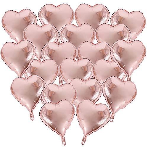 BUONDAC 20pcs Globos Metalicos de Corazón 18in 45cm Oro Rosa Decoración Fiesta Cumpleaños Boda Navidad