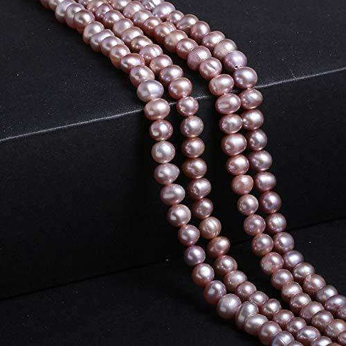 Perlas De Agua Dulce Naturales Perlas En Forma De Patata Perlas Sueltas para Hacer Joyas DIY Pulsera Collar Accesorios-Púrpura, 5-6Mm