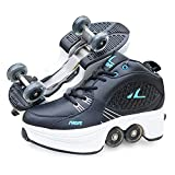 Roller Skates for Women,Shoes with Wheels for Girls,Kick Rollers Shoes Skates Retractable Adult,Skating Shoes for Boys,Heel Skates for Kids,Sports/Outdoor Recreation Parkour Shoes (Black, 7.5)