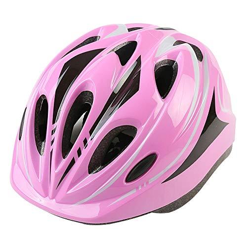 YWZQ Fahrradhelm für Kinder, Leicht Fahrradhelm für Kinder Cartoon Helme für Fahrrad Skating Roller Einstellbare 49-59Cm,Rosa