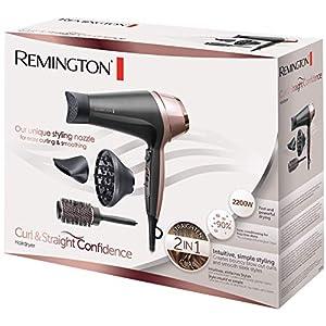 Remington Haartrockner Curl&Straight, 3 Stylingdüsen: konisch geformte & Locken-Stylingdüse, Diffusor & 45mm Rundbürste zum Glätten, Locken & Wellen (2200W, 3 Heiz-& 2 separate Gebläsestufen) D5706