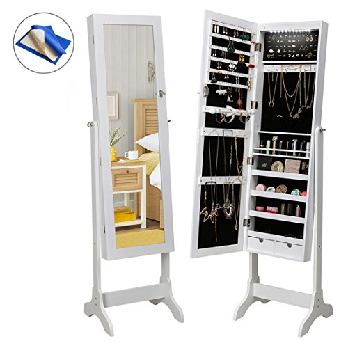 HollyHOME Mirrored Jewelry Cabinet Lockable Standing Jewelry Armoire Holder Organizer with LED Lights, 4 Angle Adjustable, White