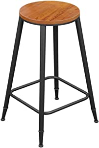 ZHJBD Furniture Stool Counter Height Bar Stools Metal Round Bar Chair High Stool for Home and Business Wrought Iron Bar Stools for Kitchens Wooden Breakfast Chair Vintage Style Black