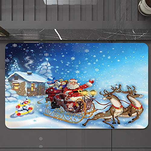 Bath Mat 50 x 80 cm Non-Slip Bathroom Mat,Christmas,Santa in Sleigh with Reindeer and Toys in Snowy North Pole Tale Fanta,Super Absorbent Water,Machine-Washable,Microfiber Absorbent Bathroom Floor Mat