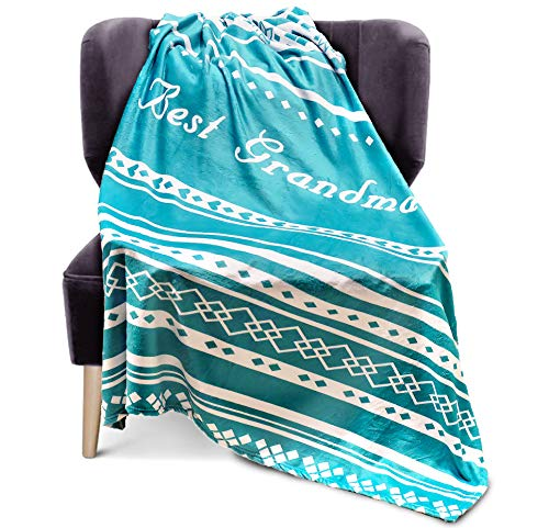 DORR GIFT Grandma Blanket Throw - Grandmother Present Idea for Birthday, Christmas, Valentines Day for Your Sweet Nan. Nana Throw Blanket Gifts , 280 GSM Fleece 50x60 in (Teal)