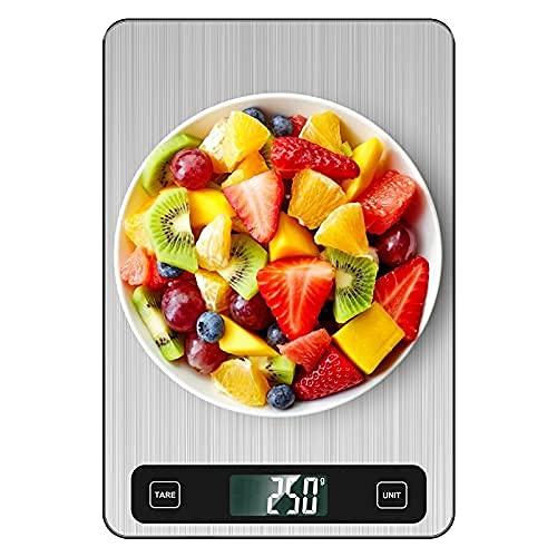 BRIFIT Bilancia da Cucina Digitale,10Kg, Bilancia per Alimenti Intelligente Multi-unità, Ampia Area e Superficie in Acciaio Inossidabile, con Display LCD Retroilluminato e Funzione Tara