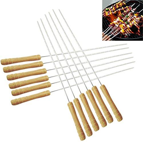 Lot de 12 brochettes avec manche en bois - Longueur : 30 cm