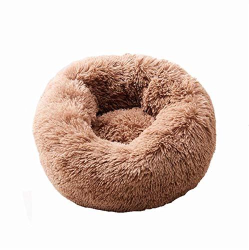 Huisdier hond kat kalmerende bed ronde nest warm zacht pluche comfortabel voor slapen winter ovale vorm Dimple fleece Nesting hond grot bed huisdier kat bed voor katten en kleine honden, S= Φ19.7 in, BRON