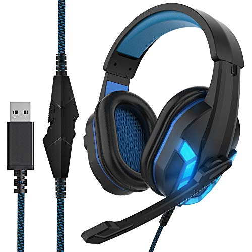 HIFI WALKER Cascos Gaming con Micrófono y Control de Volumen, Auriculares USB para PS4, Computadora Portátil, Tableta, PC