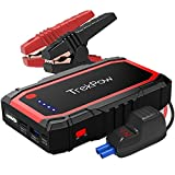 TrekPow A18 800A Peak Portable Car Jump Starter with USB Quick Charge 3.0 (up to 6.0L Gas, 5.0L Diesel Engine), SuperSafe Battery Jumper Pack with Smart Jumper Cables, Type-C Input&Output, Flashlight