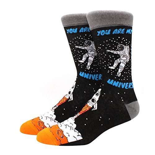 Calcetines para Hombres patrón Hip Hop Hombres Invierno Engrosamiento Largo monopatín Divertidos Calcetines Coloridos 2 Pares-a17