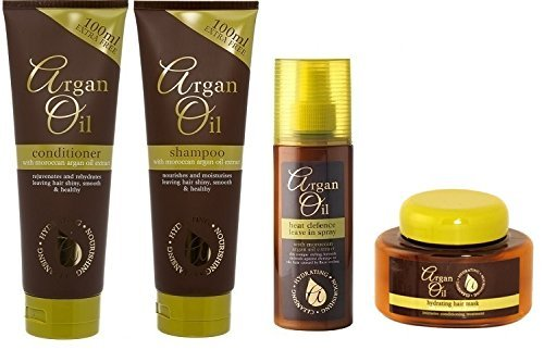 Yasmin Hair and Beauty Bundle - 4 Items - Argan Oil Set - Shampoo, Conditioner, Leave In Heat Defence Spray & Hydrating Hair Mask - For All Hair Types by Yasmin Hair and Beauty