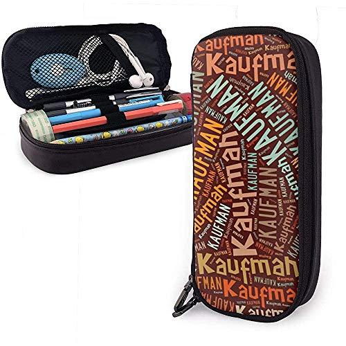 Kaufman - American Nachnamen Hochleistungs-Federmäppchen aus Leder Bleistift Stift Schreibwarenhalter Organizer Office Marker Stift Student Schreibwaren Tasche