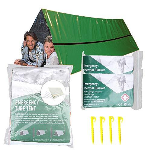 Notfallzelt mit 2 Rettungsdecke - 2 Personen Notfallzelt - Verwendung als Überlebenszelt, Notfallzelt, Schlauchzelt, Überlebensplane - inkl. 4 Zelt-Nägeln (grün)