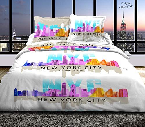 Pack completo de 6 piezas: funda nórdica de 220 x 240 cm para cama de 160 x 200 cm, 100% algodón, 57 hilos/cm2 (NY Skyline Rosa, Pack de 6 piezas: funda nórdica de 220 x 240 cama 160)