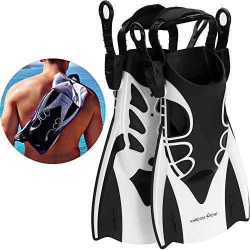 Khroom Kurzflossen mit Verstellbarer Ferse für Erwachsene und Kinder. Flossen zum Schnorcheln, Tauchen und Schwimmen. (40-45)