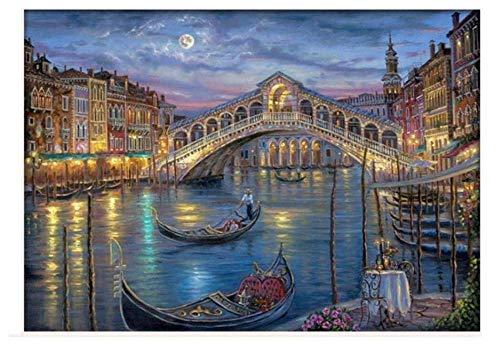 Pintura Decorativa Moderna Noche Agua Ciudad Puente Paseos En Bote Paisaje Impresión...